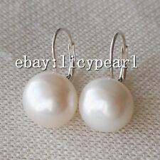 groß 14-15mm weiß Süßwasser perlen  Hebel zurück Ohrringe