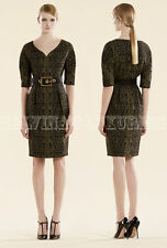 GUCCI DRESS BLACK & GREEN LACE JACQUARD SWEETHEART NECKLINE $1,995 IT 38 US 2