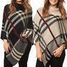 Womens Ladies Knitted Tartan Check Polo Neck Warm Poncho Cape Cardigan Shawl Top