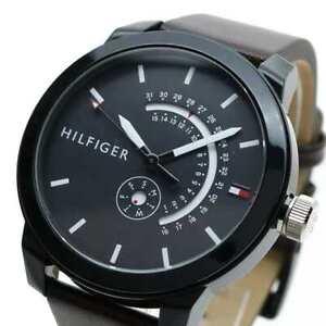 NIB Tommy Hilfiger Men's Denim Quartz Watch with Leather Calfskin Watch