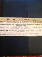 H8-1 Ephemera 1896 Advert Falmouth E A U'glow Music Stores