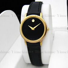 Women's Movado MUSEUM CLASSIC Gold Case Dome Black Dial Leather Swiss Watch
