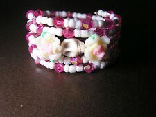 Day of the Dead Bracelet Sugar Skull Wrap around Frida inspired Pink & White NEW