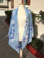 NEW! CALVIN KLEIN A6WC3218 Sheer Wrap Poncho Oversized Shrug - Blue Floral