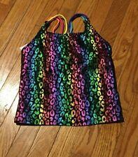 New Circo Girls L 10 12 Swim Suit Rainbow Leopard Tankini Bathing Suit