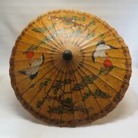Vintage Japanese Chinese Asian Rice Paper Hand Painted Lacquer Umbrella Parasol