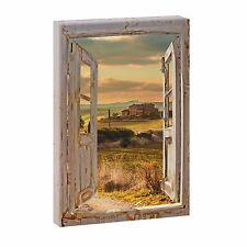 Bild auf Leinwand Fensterblick Toskana Kunstdruck Poster XXL 120 cm*80 cm 669