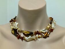 Vintage 1960s 70s Mother Of Pearl Shell & Gold Tone Long Necklace 85cm J070