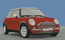 "Mini Cooper Red Counted Cross Stitch Kit 10"" x 6.4"" 25.4cm x 16cm"