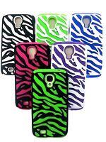 For Samsung Galaxy S4 S IV Zebra Hybrid Case Hard Shockproof Gel Cover i9500