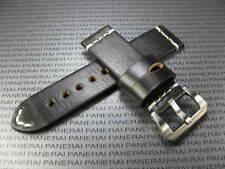 BIG BELT 24mm Hand Made LEATHER STRAP Black Band w/ White Stitch Suunto Core
