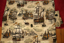 """Vintage Antique Wooden Sailing Tall Ships Linen Woven Cafe Curtain Panel 74""""x30"""""""