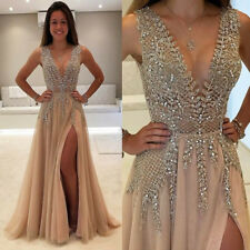 Beaded Side Split Prom Dresses Long Crystal V Neck Evening Pageant Party Gowns