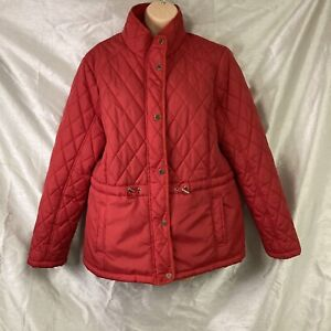 George Red  Padded Puffa Coat Jacket Sz 18 Gold Tone Poppers & Toggles Pockets