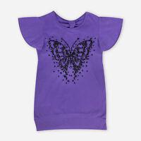Girls Purple T-Shirt Top Glitter Butterfly Sequin Print Short Sleeve Cotton