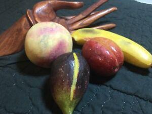 Lot of Vintage Italian Alabaster Orange Fig Plum Banana Fruit  Life Size