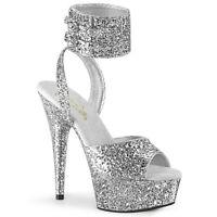 Pleaser DELIGHT-691LG Women's Silver Glitter Heels Platform Ankle Strap Sandals