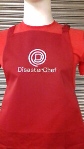 'DISASTER CHEF' FUN RED OR BLACK APRON SPARKLE PRINT BAKE BBQ MASTER CHEF ISH