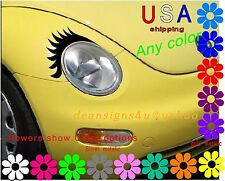 black CAR Eyelashes conforms any oval headlight or Volkswagen vw beetle USA New