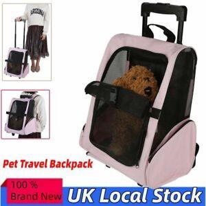 PET TRAVEL CARRIER BACKPACK BAG DOG PUPPY CAT TROLLEY STROLLER WHEELS