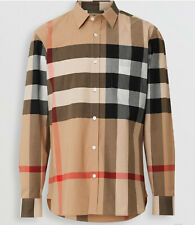 Burberry Men's Check Stretch Cotton Shirt Camel Color 3XL Size