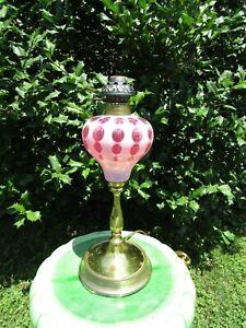 Fenton Cranberry Opalescent Coin Dot Lamp  brass