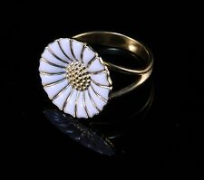 Danish Georg Jensen Gilded Silver 925s White Enamel Daisy Ring 18mm