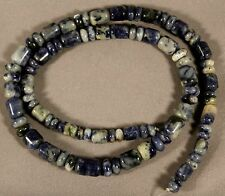 "BLUE DENIM SODALITE 3-9MM GRADUATED SOUTHWEST TUBE & RONDELLE WHEEL BEADS 18"" ST"