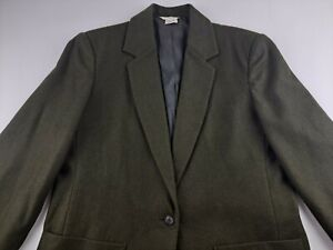 J Crew Women Sz 14 Olive Green One Button Blazer Jacket Wool Blend Lined Career