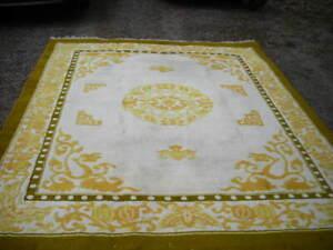 VINTAGE YELLOW GOLD 8X10 DRAGON DESIGN CHINESE ART DECO RUG