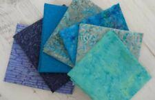 7 x Batik Fat Quarter Bundle Blue & Turquoise Quilt Cotton Patchwork Fabric!!