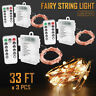 3 x 8 Modes 33ft 100 LED Copper Fairy Starry String Lights with Remote Control