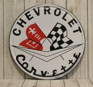 """Chevrolet Corvette Racing 12"""" Round Tin Sign Poster Vintage Look Man Cave Car"""