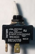 Momentary, White, Toggle Switch 15A @ 125VAC (2) Terminal, Normally Open, 3/4 HP