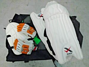 Cricket Accessories Leg Pads and Guard Gloves + Large Slazenger Bag
