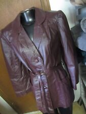 AVANTI Vtg Burgundy red LEATHER 3 button belted BLAZER Jacket coat Womens L 14