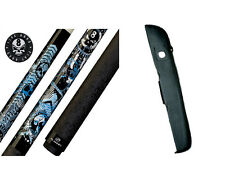 New Players D-GFB Pool Cue Stick - Blue & White Anarchy Skulls 18-21 oz & Case