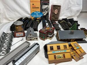 Bulk Lot HO Scale Train Atlas Tyco Curve Straight Track Switches Buildings Plans
