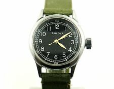 RARE VINTAGE BULOVA MILITARY TYPE A-11 10AK NICKEL FINISH CASE WRIST WATCH