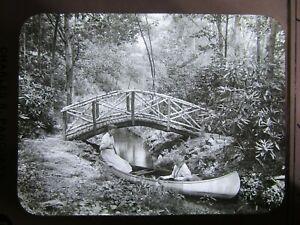 Glass Magic Lantern Slide 1905 Girls in Canoe Near Bridge Charles Pancoast PA