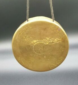 """Vintage Brass Dinner Table Gong - No Stand - 6"""" Round Gong Only"""