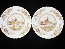 TULIP TIME Johnson Bros Vintage Brown Multi Color BREAD & BUTTER PLATES Set of 2