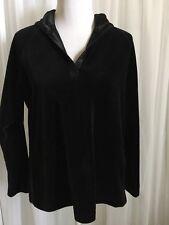 KATHERINE KELLEY MEDIUM Black Velvet Satin Trim Hooded Long Sleeve Sweatshirt
