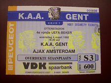 TICKET KAA GENT - AJAX AMSTERDAM 4/3/1992 C3