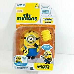 Minions Movie Banana Munching Stuart Poseable Deluxe Action Figure New