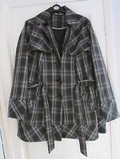 ladies black tartan print waterproof belted coat from Evans size 26-28