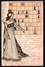 Art Nouveau. La joueuse d'échec. Vers 1900