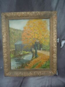 Harrison Frerichs oil painting of covered bridge.
