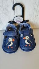 M&S Baby Shoes Age 3-6 Months Blue Puffin Bird Ginham Boys or Girls New