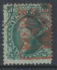 USA - 1867, 10c Deep Green stamp - With Grill - Used - SG 98 (Cat. £350)